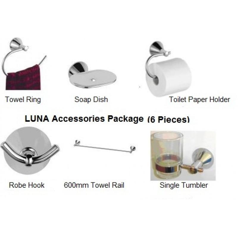 LUNA 6 Piece Bathroom Accessory Pack