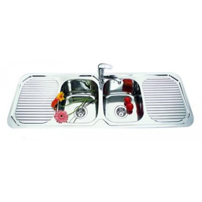 Double Bowl Double Drainer Kitchen Sink - 1380x480mm